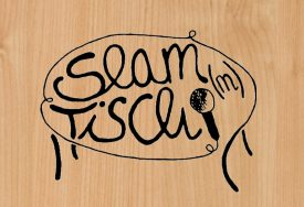 Slam(m)Tisch Logo - holz